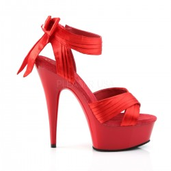 Sandales Plateformes Pleaser DELIGHT-668 Rouge Satin