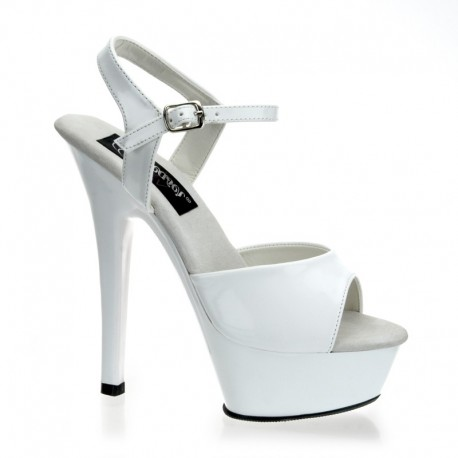 Sandales Plateformes Pleaser KISS-209 Blanc vernis