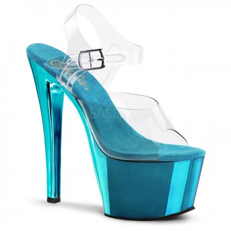Sandales Plateformes Hautes Pleaser SKY-308C Bleu Chrome