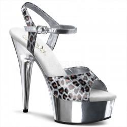Sandales Plateformes Pleaser DELIGHT-609CP Leopard Argent Metal