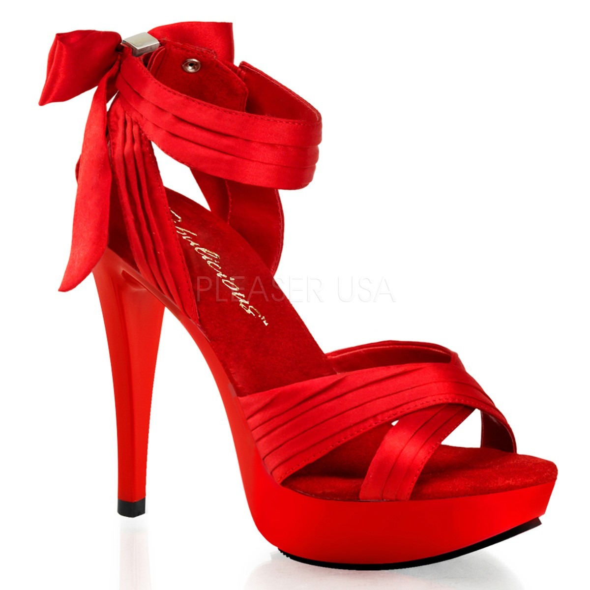 chercher belles chaussures Prix 50% Sandales Talons Hauts Fabulicious COCKTAIL-568 Rouge Satin ...