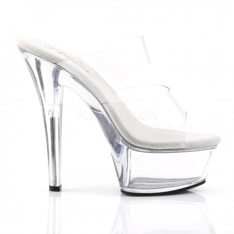 Mules Plateformes Pleaser KISS-202 Transparent
