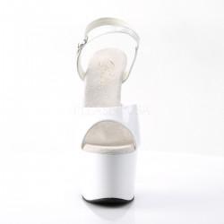Sandales Plateformes Hautes Pleaser ADORE-709 Blanc vernis