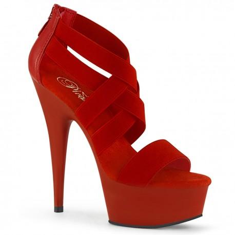 1025 Pleaser talons-hauts plateforme profondeur lettons Corset Style Noir Rouge DELIGHT