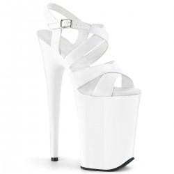 Sandales Plateformes Hautes Pleaser INFINITY-997 Blanc vernis