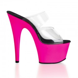 Mules Plateformes Hautes Pleaser ADORE-702UV Transparent Rose Fluo